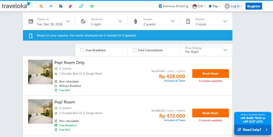 booking traveloka online